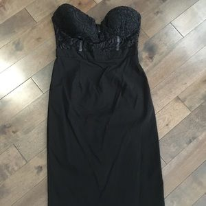 ASOS petite black strapless midi dress